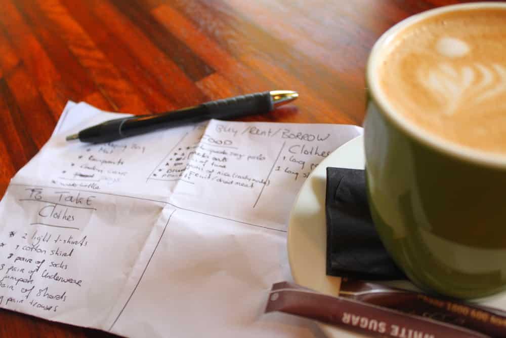 Ontbijtje bestellen, pen en papier pakken en dan een plan maken voor de Overland Track in Tasmanië